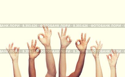 Купить «human hands showing ok sign», фото № 8393626, снято 27 мая 2020 г. (c) Syda Productions / Фотобанк Лори