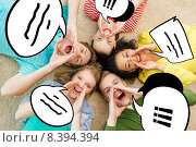 Купить «smiling people lying down on floor and screaming», фото № 8394394, снято 29 марта 2014 г. (c) Syda Productions / Фотобанк Лори