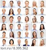 Купить «collage with many business people portraits», фото № 8395362, снято 25 апреля 2019 г. (c) Syda Productions / Фотобанк Лори