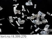 Купить «close up of us dollar money flying over black», фото № 8399270, снято 2 июля 2015 г. (c) Syda Productions / Фотобанк Лори