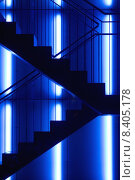 Купить «blue night evening lighting stairs», фото № 8405178, снято 20 июня 2019 г. (c) PantherMedia / Фотобанк Лори