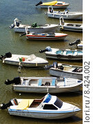 Купить «Motorboats moored», фото № 8424002, снято 20 июня 2019 г. (c) PantherMedia / Фотобанк Лори