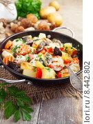 Купить «Блюдо из картофеля, курицы и грибов в сковороде», фото № 8442802, снято 28 июля 2015 г. (c) Надежда Мишкова / Фотобанк Лори