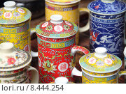 Купить «Chinese tea cups», фото № 8444254, снято 26 мая 2018 г. (c) PantherMedia / Фотобанк Лори