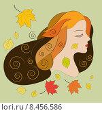Молодая женщина с осенними листьями. Стоковая иллюстрация, иллюстратор Bellastera / Фотобанк Лори