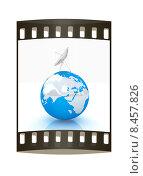 SAT и земной глобус в кадре кинопленки на белом фоне. Стоковая иллюстрация, иллюстратор Guru3d / Фотобанк Лори