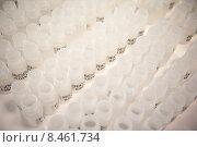 Ряды белых пластиковых банок для реактивов с наклеенными этикетками. Стоковое фото, фотограф Александра Прохорова / Фотобанк Лори