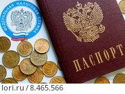 Паспорт, федеральная налоговая служба, копейки. Стоковое фото, фотограф Alexander Alexeev / Фотобанк Лори