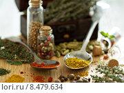 Купить «Разнообразные специи и травы на деревянной доске», фото № 8479634, снято 22 марта 2014 г. (c) Елена Веселова / Фотобанк Лори