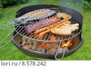 Купить «fish meat barbecue grill sausage», фото № 8578242, снято 20 мая 2019 г. (c) PantherMedia / Фотобанк Лори