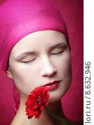 Купить «woman red face plant flower», фото № 8632946, снято 15 декабря 2018 г. (c) PantherMedia / Фотобанк Лори
