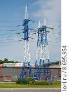 Купить «Мачты линии электро-передач», эксклюзивное фото № 8695954, снято 6 августа 2015 г. (c) Александр Щепин / Фотобанк Лори