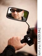 Купить «Motorcyclist Reflection», фото № 8699842, снято 21 марта 2018 г. (c) PantherMedia / Фотобанк Лори