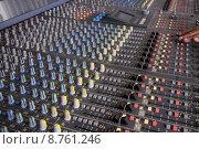 Купить «Faders at mixing pult», фото № 8761246, снято 16 июля 2018 г. (c) PantherMedia / Фотобанк Лори
