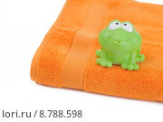 Купить «orange towel and toy frog», фото № 8788598, снято 15 сентября 2019 г. (c) PantherMedia / Фотобанк Лори