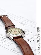Купить «Vertical image of a wristwatch on a cale», фото № 8789990, снято 17 ноября 2018 г. (c) PantherMedia / Фотобанк Лори