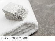Купить «Towel and Pumice Stones in Bathroom», фото № 8874298, снято 15 сентября 2019 г. (c) PantherMedia / Фотобанк Лори