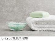 Купить «Salt, Towel, and Bar Soap in Bath», фото № 8874898, снято 15 сентября 2019 г. (c) PantherMedia / Фотобанк Лори