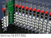 Купить «removable card of fiber optic video converters rack», фото № 8917502, снято 15 октября 2018 г. (c) PantherMedia / Фотобанк Лори