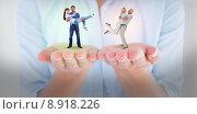 Купить «Composite image of man lifting up his girlfriend», фото № 8918226, снято 23 января 2020 г. (c) Wavebreak Media / Фотобанк Лори