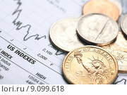 Купить «dollar coin and financial graph», фото № 9099618, снято 26 мая 2019 г. (c) PantherMedia / Фотобанк Лори