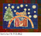 Купить «illustration for Christmas whit manger end star comet with capti», иллюстрация № 9113862 (c) PantherMedia / Фотобанк Лори