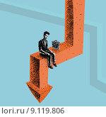 Работник во время кризиса. Стоковая иллюстрация, иллюстратор Евгений Бакал / Фотобанк Лори