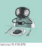 Муха фотографирует еду на тарелке. Стоковая иллюстрация, иллюстратор Евгений Бакал / Фотобанк Лори