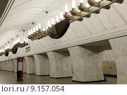 """Купить «Станция метро """"Чеховская"""", открыта 8 ноября 1983 года, Москва», фото № 9157054, снято 9 августа 2015 г. (c) Владимир Журавлев / Фотобанк Лори"""