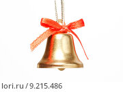 Купить «handbell with red ribbon», фото № 9215486, снято 20 августа 2018 г. (c) PantherMedia / Фотобанк Лори