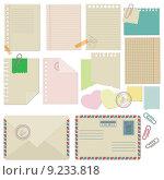 Набор бумаги, конверты, скрепки. Стоковая иллюстрация, иллюстратор Liliya Mekhonoshina / Фотобанк Лори