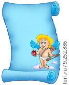 Купить «Blue scroll with Cupid holding gift», иллюстрация № 9252886 (c) PantherMedia / Фотобанк Лори