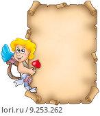 Купить «Valentine parchment with Cupid», иллюстрация № 9253262 (c) PantherMedia / Фотобанк Лори