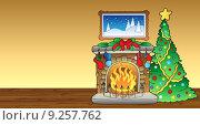 Купить «Christmas card with fireplace 1», иллюстрация № 9257762 (c) PantherMedia / Фотобанк Лори