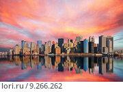 Купить «new america usa sunset skyline», фото № 9266262, снято 25 мая 2019 г. (c) PantherMedia / Фотобанк Лори