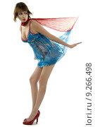 Купить «woman blue red banner scarf», фото № 9266498, снято 15 октября 2019 г. (c) PantherMedia / Фотобанк Лори