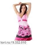 Купить «Girl posing in ping dress», фото № 9332010, снято 23 февраля 2019 г. (c) PantherMedia / Фотобанк Лори