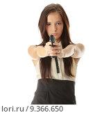 Купить «Armed woman», фото № 9366650, снято 23 июля 2019 г. (c) PantherMedia / Фотобанк Лори