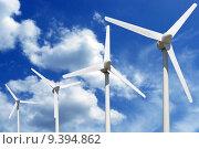 Купить «more wind turbines online blue sky with clouds», фото № 9394862, снято 22 октября 2019 г. (c) PantherMedia / Фотобанк Лори