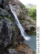 Купить «Водопад ручья Санчаро, КЧР», фото № 9405330, снято 13 июня 2015 г. (c) Оглоблин Андрей Николаевич / Фотобанк Лори