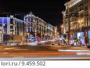 Купить «Тверская улица ночью», эксклюзивное фото № 9459502, снято 12 августа 2015 г. (c) Алёшина Оксана / Фотобанк Лори