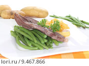 Купить «meat beans potatoes lamb lammbraten», фото № 9467866, снято 23 февраля 2019 г. (c) PantherMedia / Фотобанк Лори