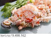 Купить «rice with salmon and prawns», фото № 9498162, снято 23 июля 2019 г. (c) PantherMedia / Фотобанк Лори