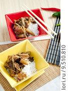 Купить «poultry meat with corn and shitake mushrooms», фото № 9510810, снято 20 июня 2019 г. (c) PantherMedia / Фотобанк Лори