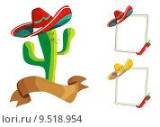 Купить «Mexican food menu design set», иллюстрация № 9518954 (c) PantherMedia / Фотобанк Лори
