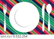 Купить «Fork, knife and spoon tablecloth», иллюстрация № 9532254 (c) PantherMedia / Фотобанк Лори