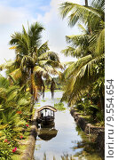Купить «Canal scene taxi boat Kerala backwaters India», фото № 9554654, снято 12 декабря 2018 г. (c) PantherMedia / Фотобанк Лори