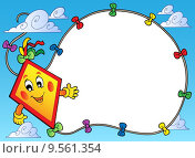Frame with flying cartoon kite. Стоковая иллюстрация, иллюстратор Klara Viskova / PantherMedia / Фотобанк Лори