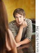 Купить «Young Man Talks to Woman», фото № 9567794, снято 10 июля 2020 г. (c) PantherMedia / Фотобанк Лори