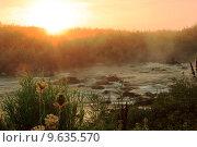Бурный поток горной реки на рассвете. Стоковое фото, фотограф Антон Глущенко / Фотобанк Лори